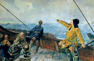 Christian Krohg (1852-1925); Leiv Erilsson discovers America